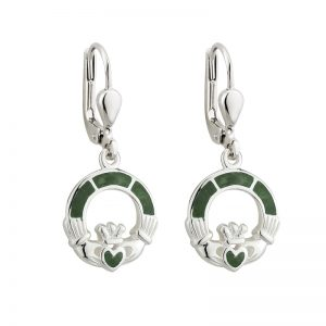 Solvar Connemara Marble Claddagh Drop Earrings s33590