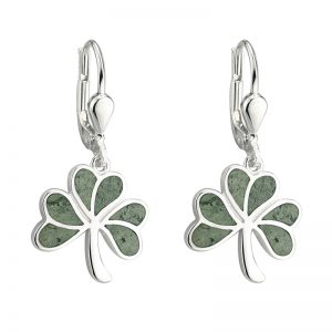 Solvar Connemara Marble Shamrock Earrings s33593