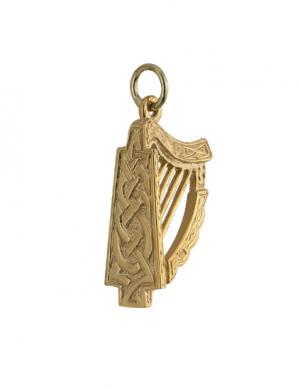 Solvar 14k Large Gold Harp Charm