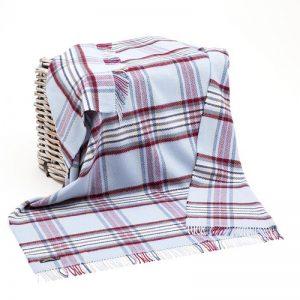 John Hanly Blue Striped Cashmere Blanket