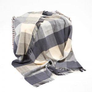 John Hanly Gray Herringbone Cashmere Blanket