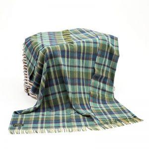 John Hanly Green Lambswool Blanket