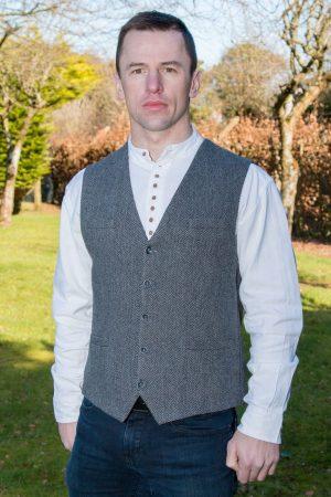 Grey Herringbone Irish Tweed Waistcoat