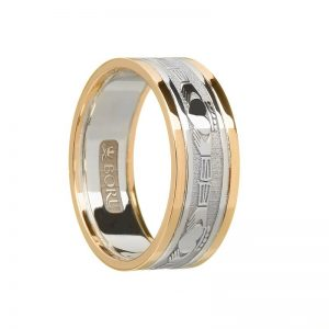 Ladies Two Tone 10k Claddagh Band