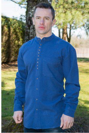 Dusty Blue Traditional Irish Grandfather Shirt