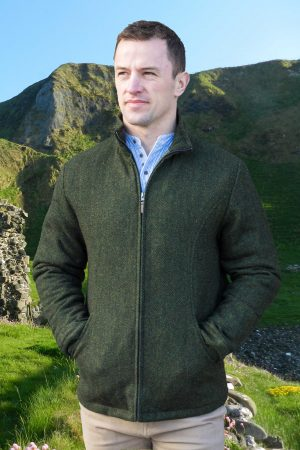Donegal Men's Full Zip Green Herringbone Jacket