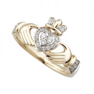 Solvar 14k Gold Diamond Claddagh Ring s2943