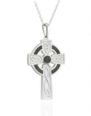 Connemara Marble Silver Trinity Cross