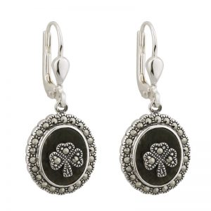 Solvar Connemara Marble Shamrock Earrings s33246