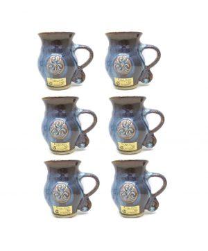 Colm De Ris Blue Belly Mugs Set Six A2