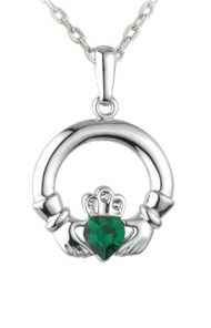 Claddagh Green Heart Necklace