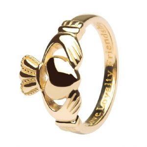 Shanore Mens 14K Gold Claddagh Ring