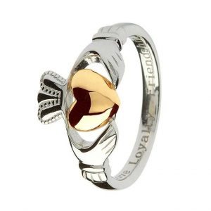 Claddagh Sterling Silver Ring 10K Gold Heart