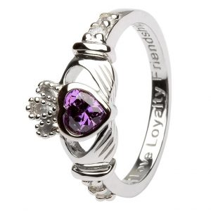 Shanore Sterling Silver February Birthstone Claddagh Ring