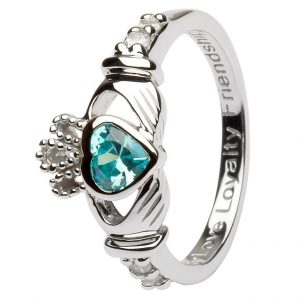 Shanore Sterling Silver March Birthstone Claddagh Ring