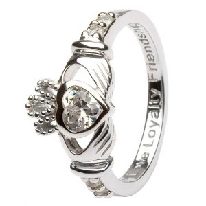 Shanore Sterling Silver April Birthstone Claddagh Ring