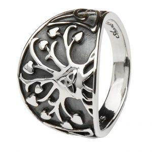 Tree of Life Trinity Knot Silver Ring