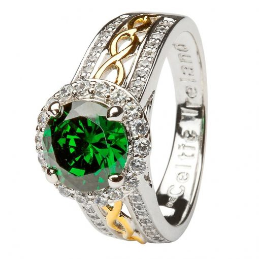 Sterling Silver Green Halo Ring