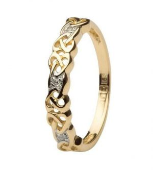 14K Gold Celtic Diamond Ring