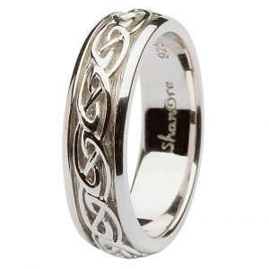 Womens Silver Celtic knot Wedding Band