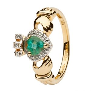 Women's 14K Gold Claddagh Emerald Diamond Ring