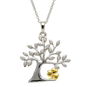 Sterling Silver Tree of Life Shamrock Pendant