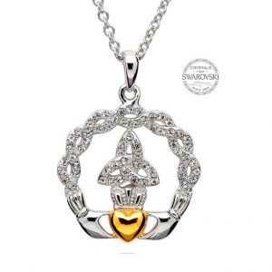 Claddagh Trinity Necklace - Swarovski Crystals