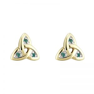 Solvar 14K Gold Emerald Trinity Knot Earrings