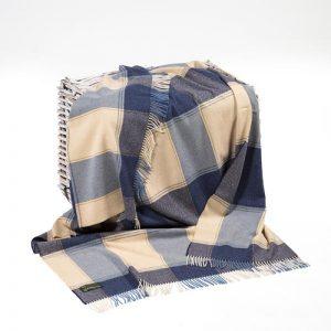 Lambswool Irish Navy Cream Blanket John Hanly 631