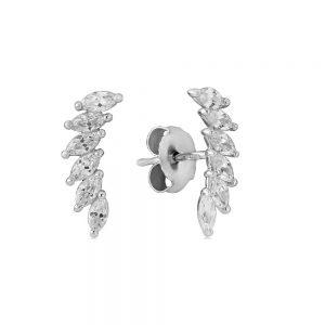 Waterford Crystal Sterling Silver Curved Earrings