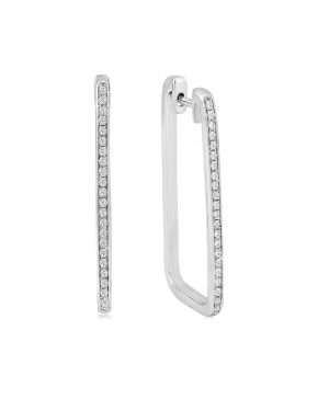 Waterford Crystal Sterling Silver Rectangle Hoops