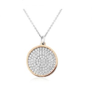Waterford Crystal Sterling Silver Rose Gold Double Circle Pendent