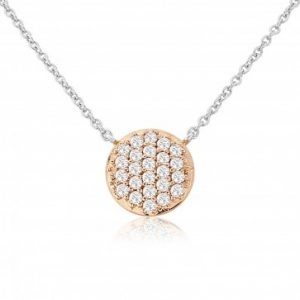 Waterford Crystal Sterling Silver Small Rose Gold Circle Pendant