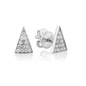 Waterford Crystal Sterling Silver Triangle Stud Earrings