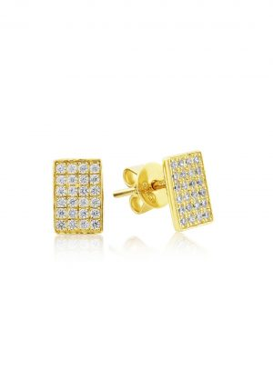 Waterford Crystal Sterling Silver Yellow Rectangle Stud Earrings