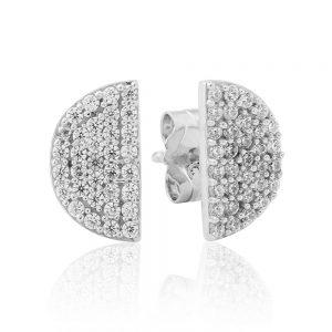 Waterford Crystal Sterling Silver Half Circle Earrings