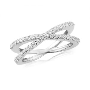 Waterford Crystal Sterling Silver Crossover Ring