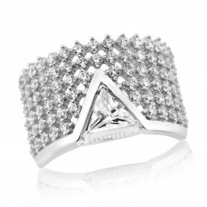 Waterford Crystal Sterling Silver Triangle Centre Ring