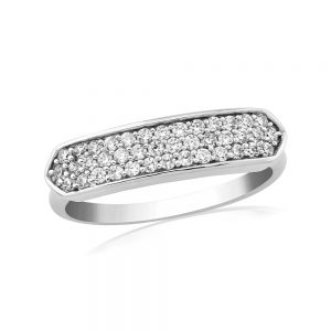 Waterford Crystal Sterling Silver Multi Stone Narrow Ring