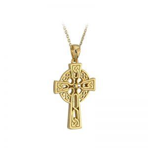 Solvar 10k Gold Celtic High Cross Pendant