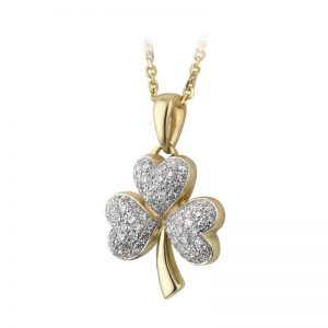Solvar 14k Gold Diamond Shamrock Pendant Necklace s44498
