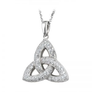 Solvar 14k White Gold Genuine Diamond Trinity Knot Celtic Necklace