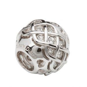 Sterling Silver Celtic Knot Bead White Swarovski Crystals