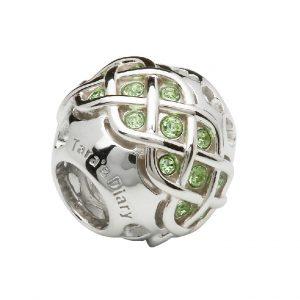 Sterling Silver Celtic Knot Bead Peridot Swarovski Crystals