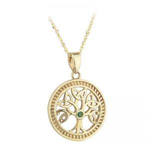 Solvar 10k Gold Irish Emerald Celtic Tree of Life