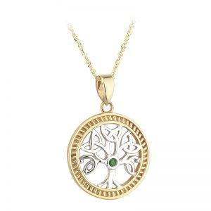 Solvar 14k 2 Tone Yellow & White Gold Emerald Tree of Life Necklace