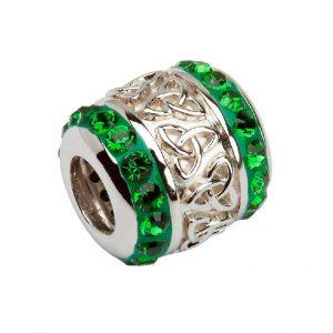 Sterling Silver Celtic Trinity Knot Bead Swarovski Crystal