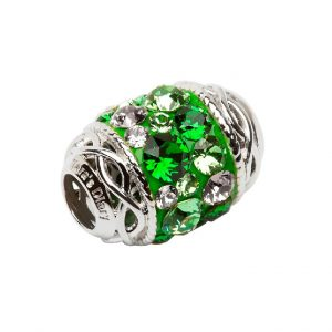Sterling Silver Celtic Design Green Bead Swarovski Crystal