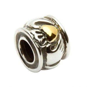 Tara's Diary Sterling Silver Claddagh Gold Heart Bead