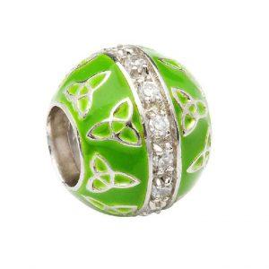 Tara's Diary Sterling Silver Irish Green Trinity Bead